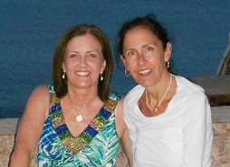 Nancy Kinnally & Susan Spencer-Wendel pictured beside the Mediterranean Sea in Cyprus (the birthplace of Susan's biological father) during travels in 2010 to meet relatives Susan had never met before.